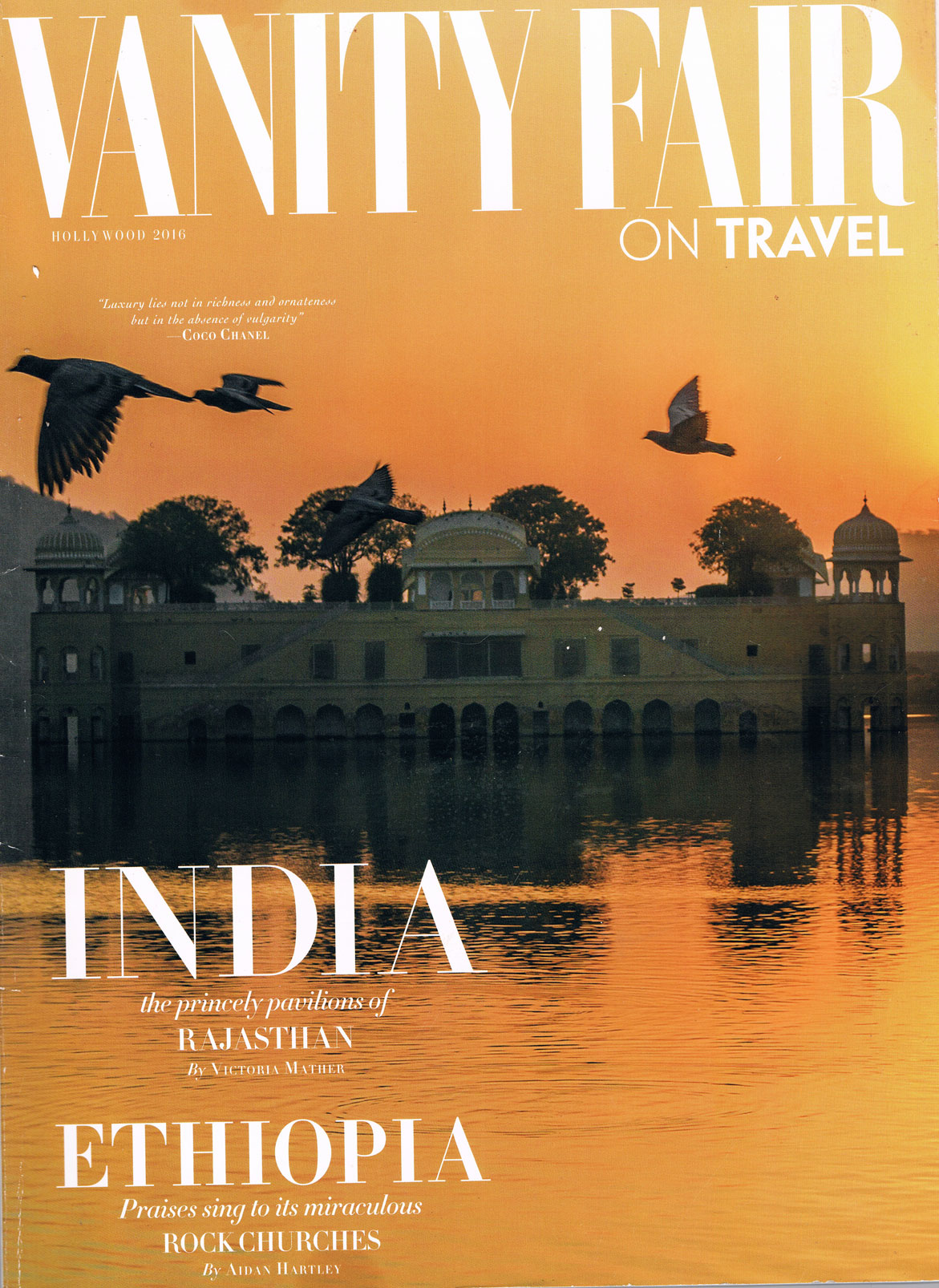 Front Cover of 'Vanity Fair On Travel Magazine' India